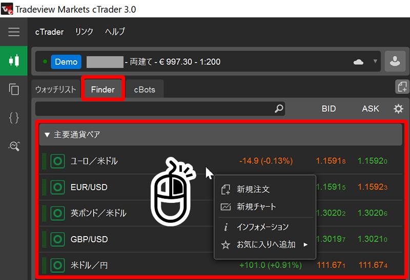 cTrader通貨ペア表示