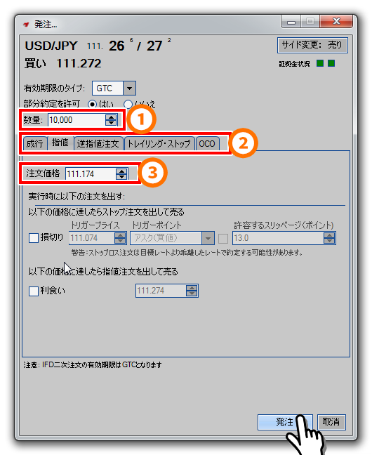 Currenex注文方法